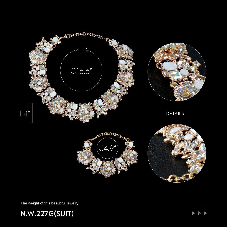 Holylove Chunky Crystal Necklace for Women Fashion Necklace Bracelet White 1 Set Retro Style Gift Box-8041SW3PCS by Holylove (Image #3)