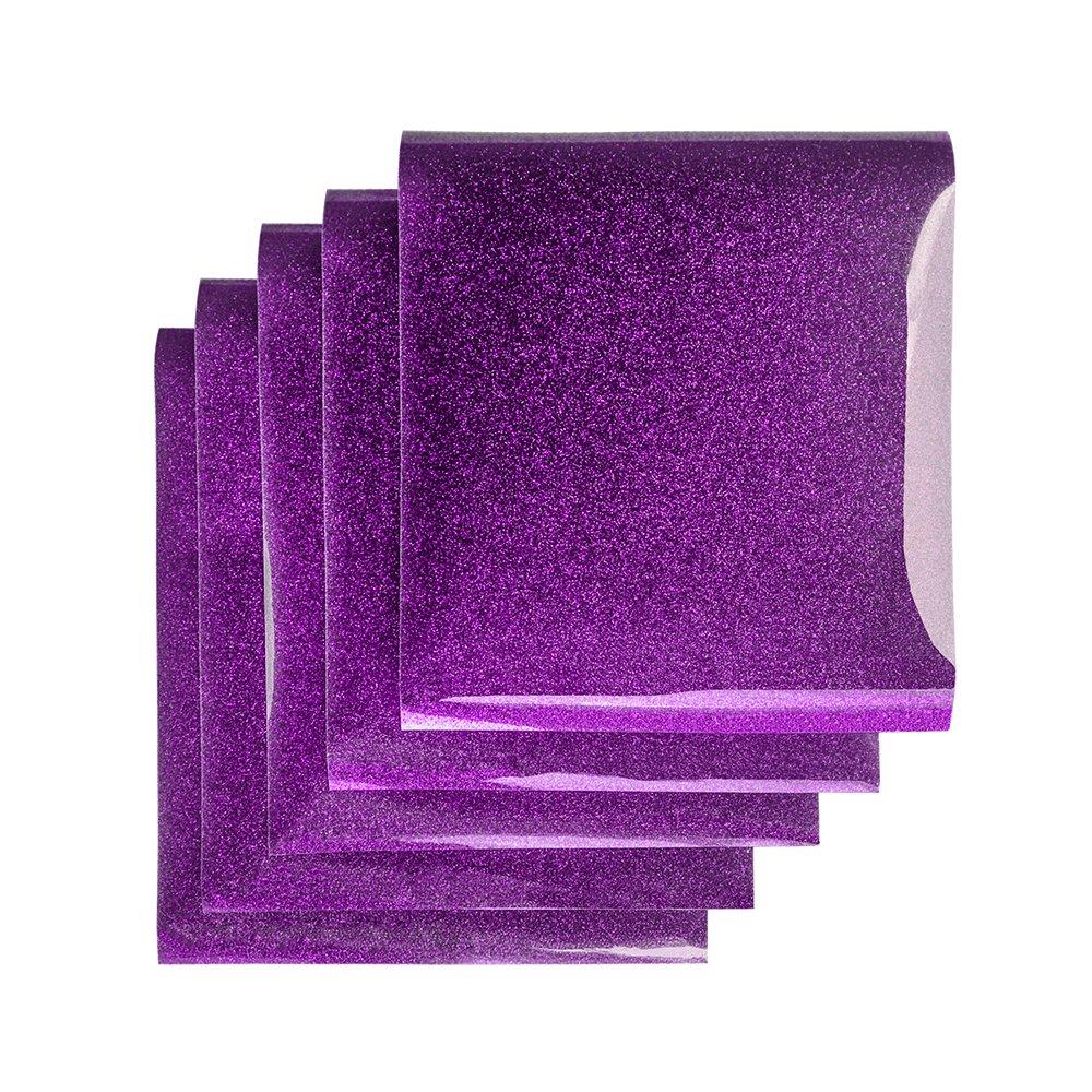 Party Clothing,DIY Embellishments 5 Sheets Purple 12 x 10 HTV Glitter Vinyl Heat Transfer Vinyl Sheets for T-shirts