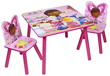 Disney Doc Mcstuffin Table And Chairs Wood Pink