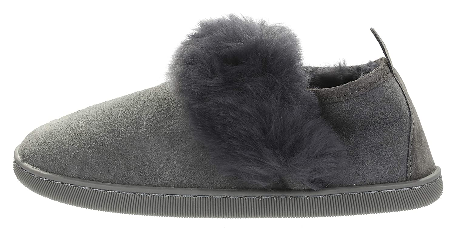 Vogar Womens Leather Furry Slippers VG-17 Sheep Wool Lined