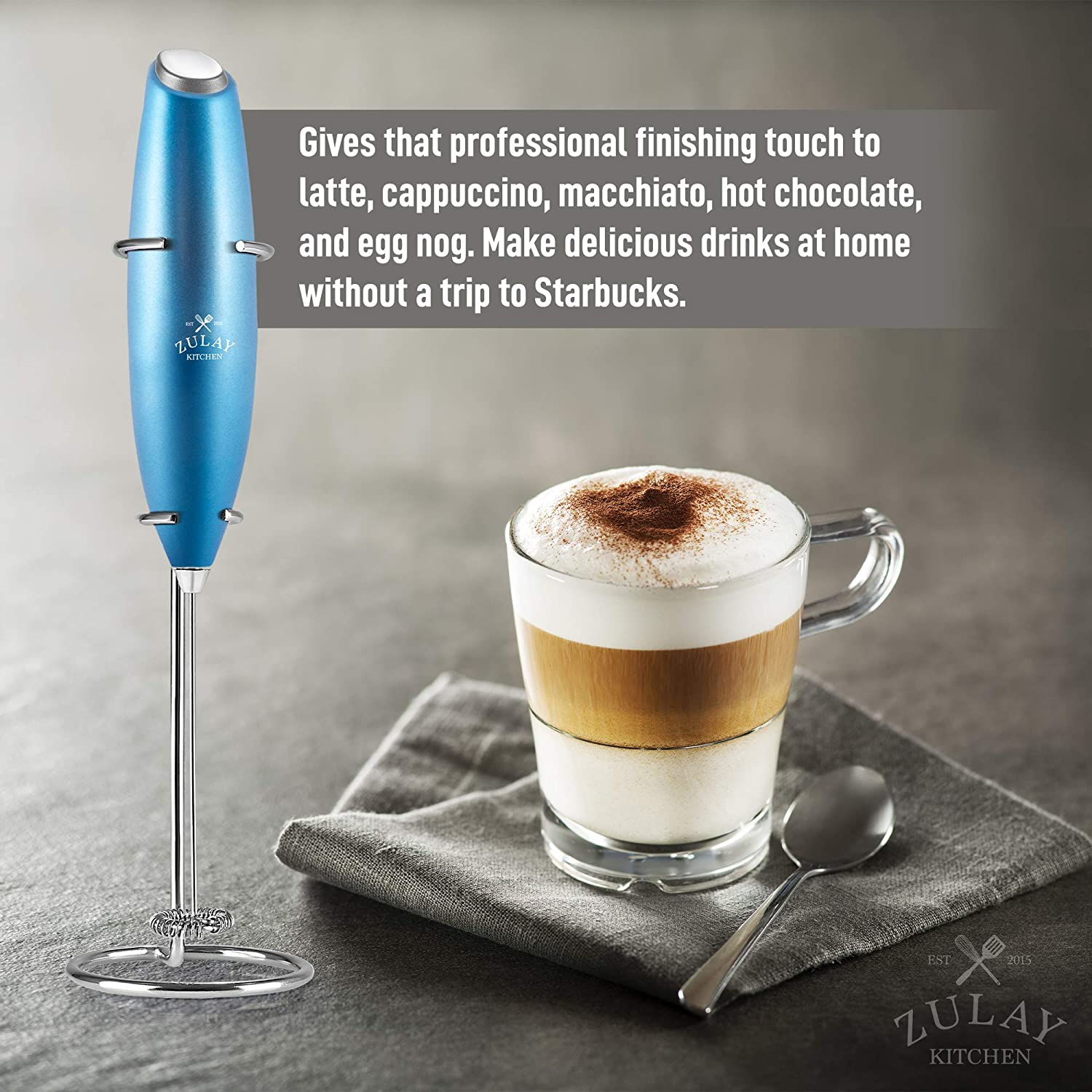 Zulay Original Milk Frother Handheld Foam Maker for Lattes - Whisk Drink Mixer for Bulletproof Coffee, Mini Foamer for Cappuccino, Frappe, Matcha, Hot Chocolate by Milk Boss (Metallic Blue)