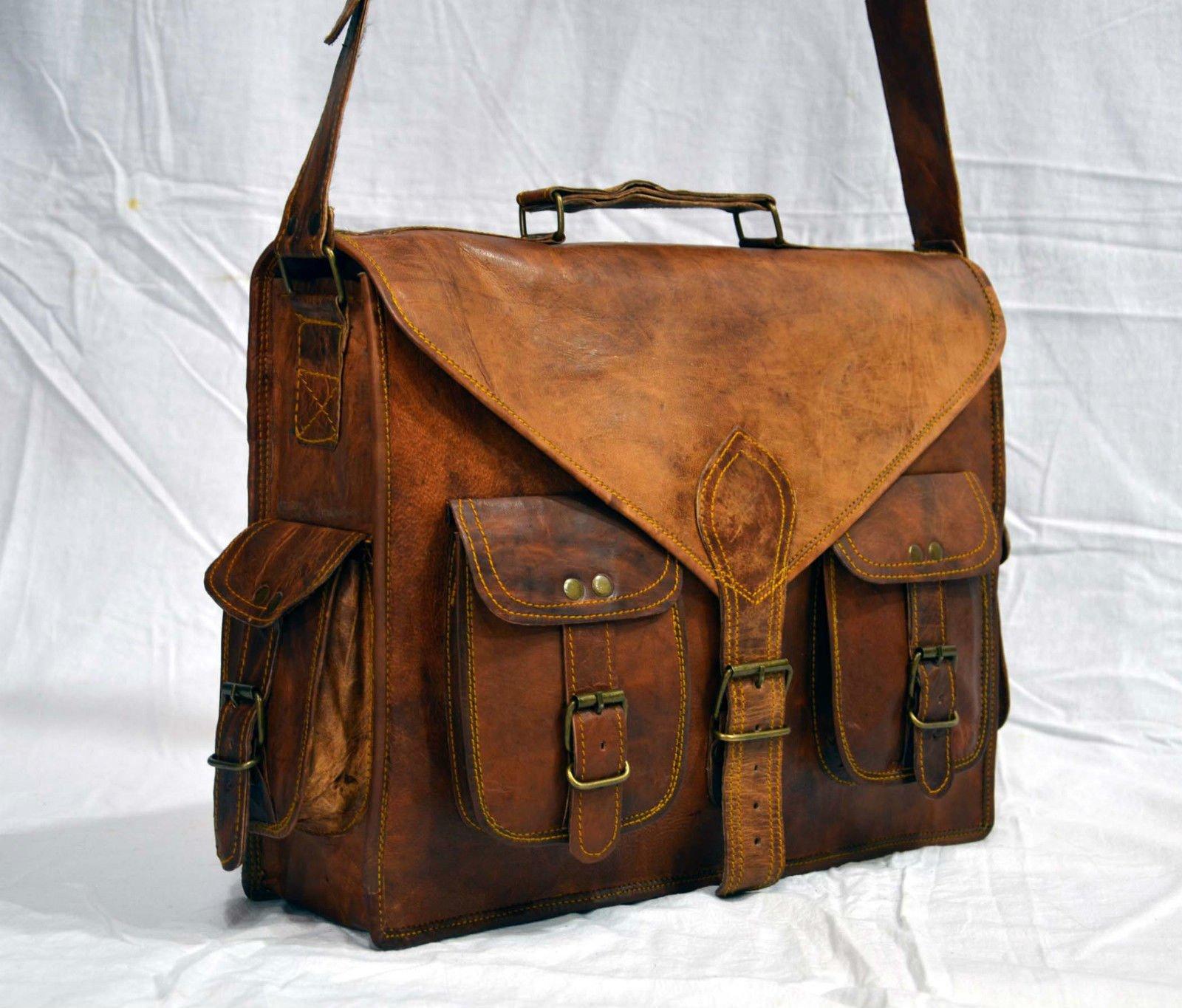 Leather Native 15'' New Men's Genuine Vintage Brown Leather Messenger Shoulder Laptop Bag Briefcase