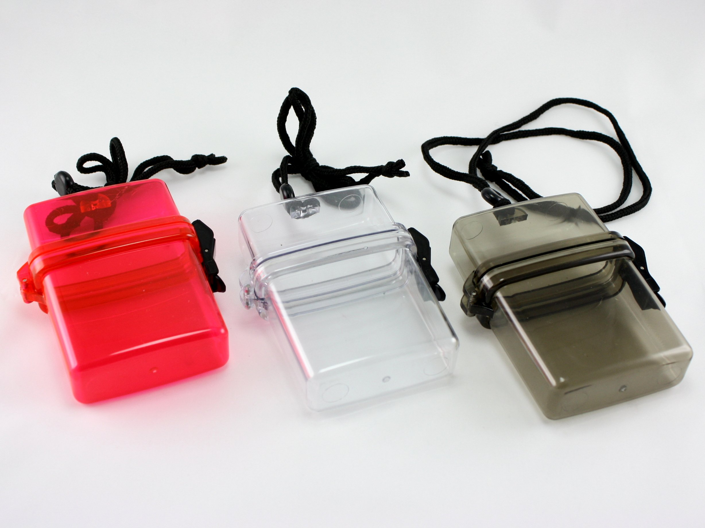 Skyway Waterproof Cigarette Case Pack Holder Dry Box - Set of 3 - Black Clear Red