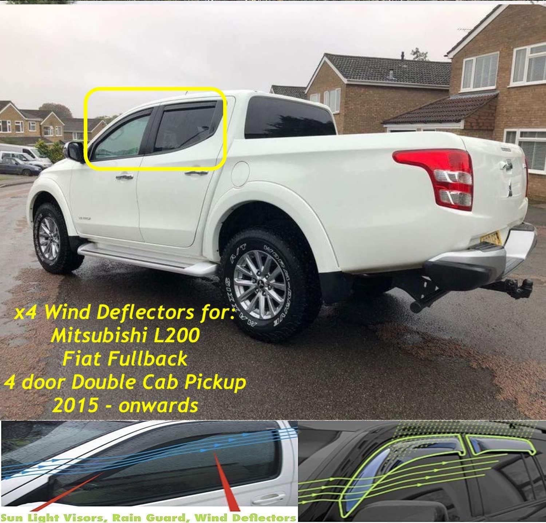 Set mit 4 Windabweisern f/ür Mitsubishi L200 oder Fiat Fullback 2015 2016 2017 2018 2019 2020 2021.