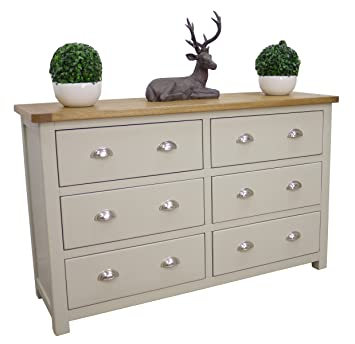 Aspen Painted Oak Sage Grey Chest of Drawers   Solid 6 Drawer Chest   Bedroom  Furniture. Aspen Painted Oak Sage Grey Chest of Drawers   Solid 6 Drawer