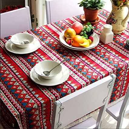 Cotton Linen Lace Bohemian Style Tablecloth For Dinner, Party, Picnic, Home  Decoration Table