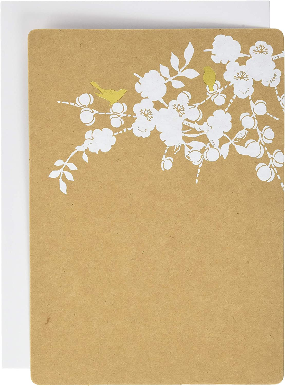 "Gartner Studios Gold Foil Birds Kraft Print At Home Wedding Invitation Kit, 5"" x 7"" and 3.5"" x 5"", Set of 50, Includes Response Cards"