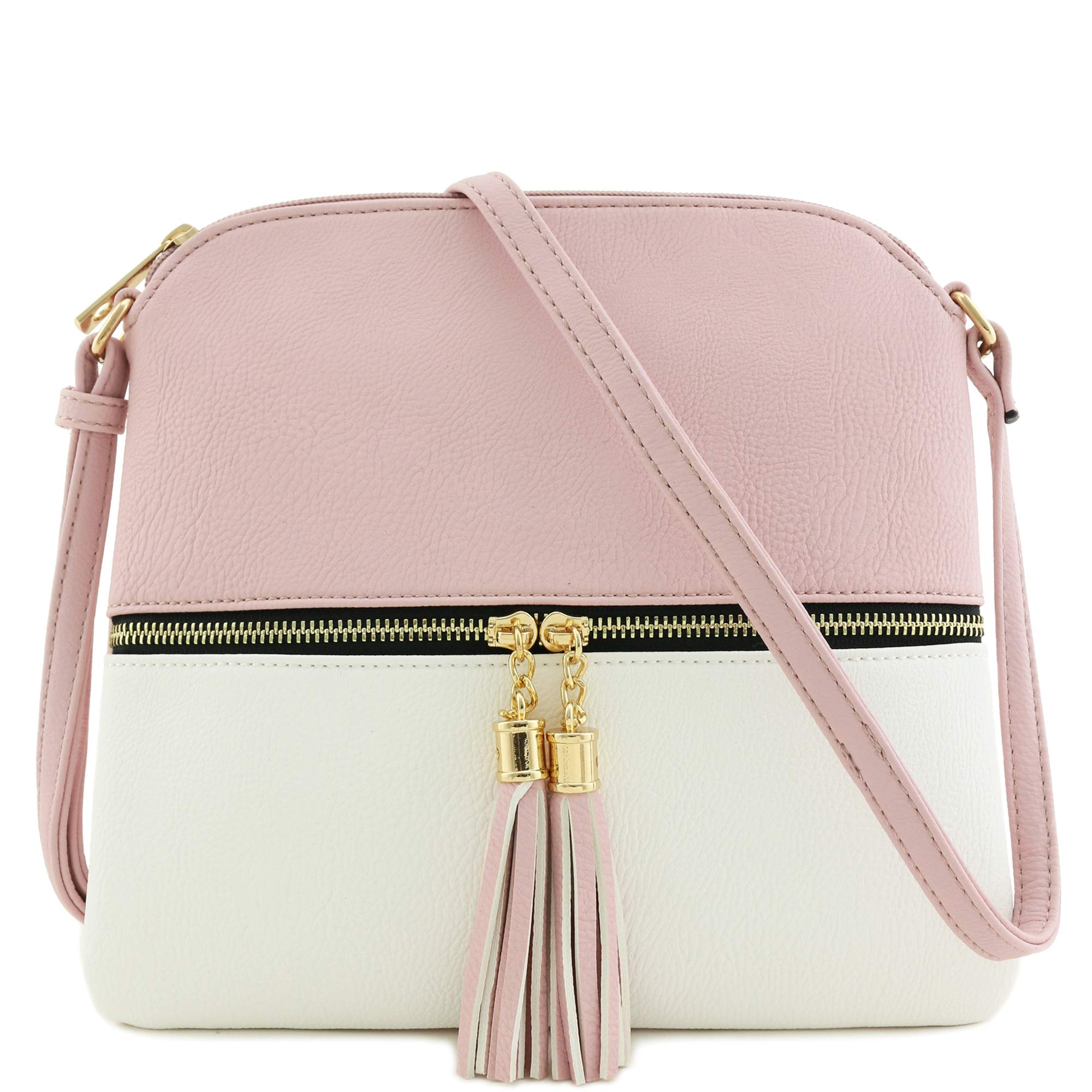 Lightweight Colorblock Medium Crossbody Bag with Tassel (Blush/White) by DELUXITY (Image #1)