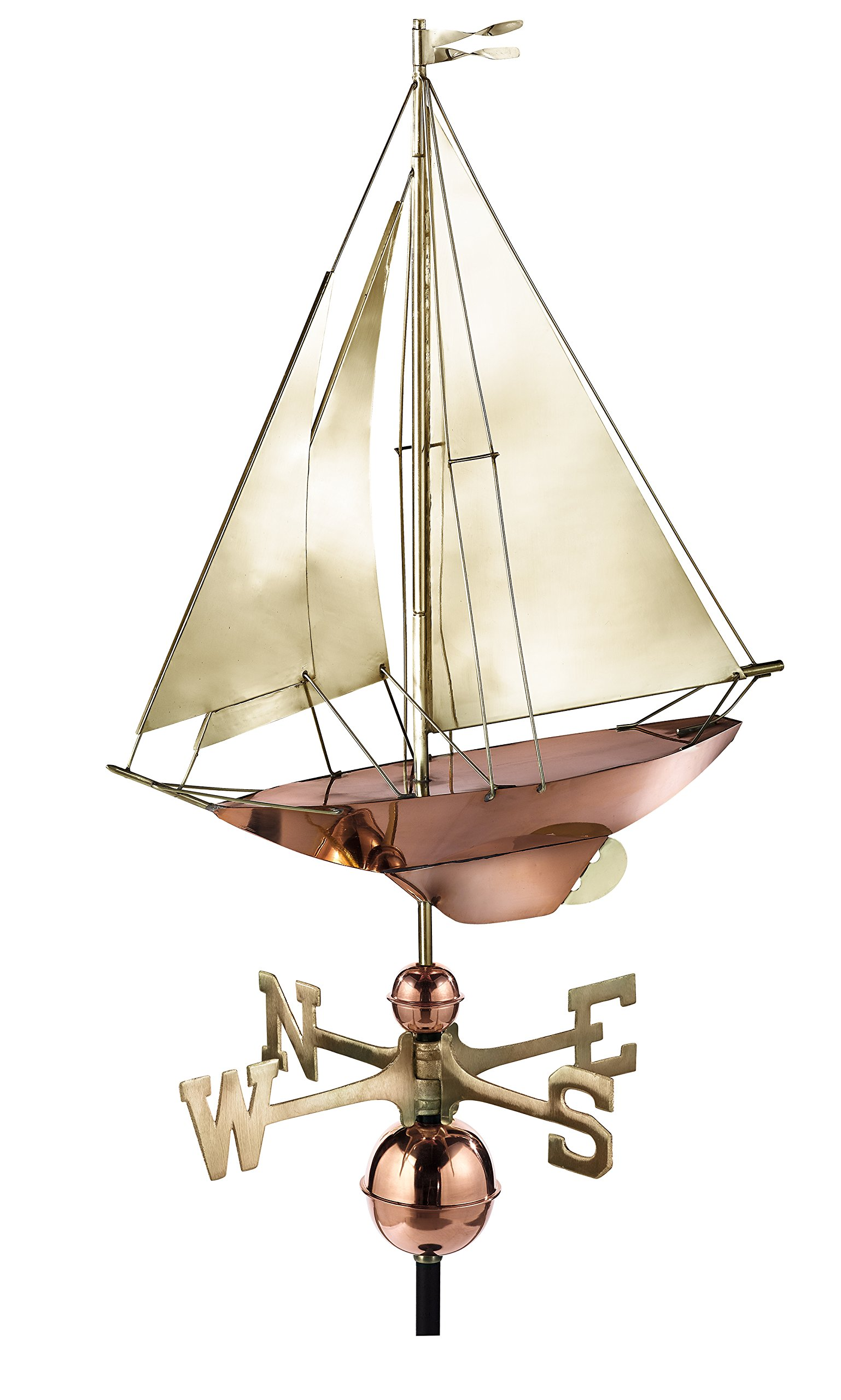 Good Directions Racing Sloop Weathervane, Pure Copper with Brass Sails (24 inch), Boat, Wind Vane