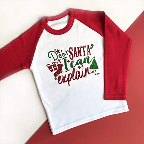 84bd5a0da9700 Dear Santa I can Explain Christmas Raglan, Kids Christmas Shirt ...