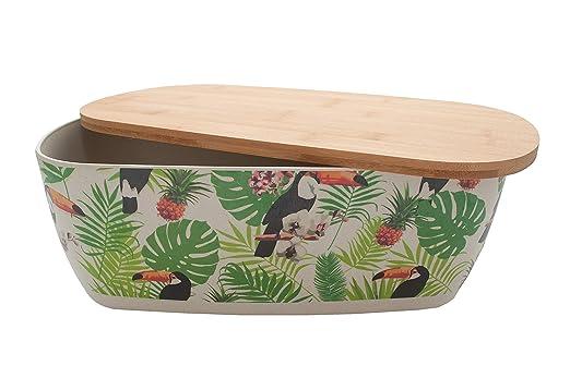 Koop Bambus-Brotkasten mit Deckel Deckel kann als Schneidebrett verwendet werden Bl/ätter Schwarz /& Cremefarben Schwarz /& Cremefarben