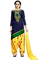 TAGLINE Women's Cotton Embroidery Patiyala Salwar Suits/Dress Materials