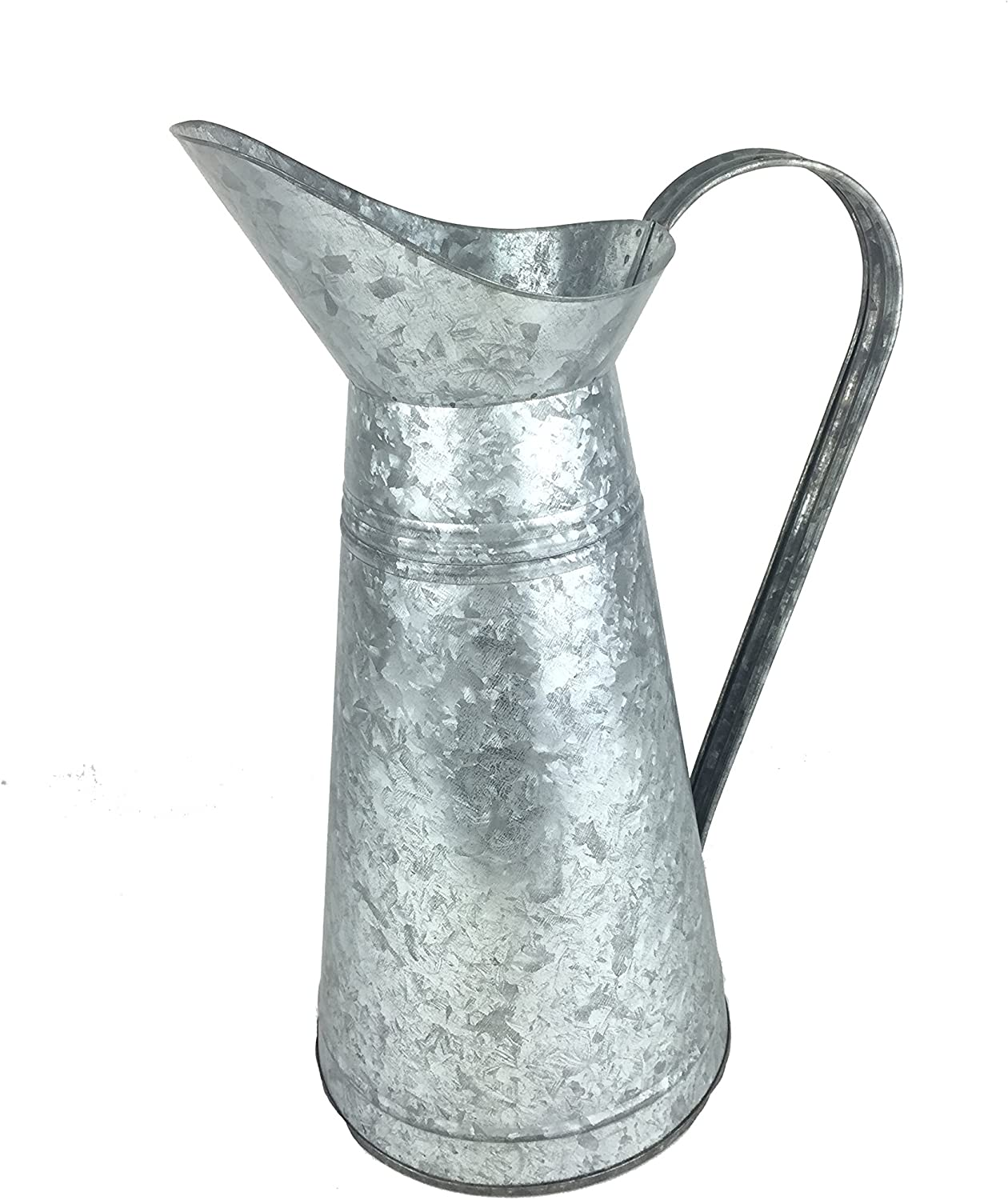 """Craft Outlet Inc 15"""" Galvanized French Pitcher, Oval, Silver"""