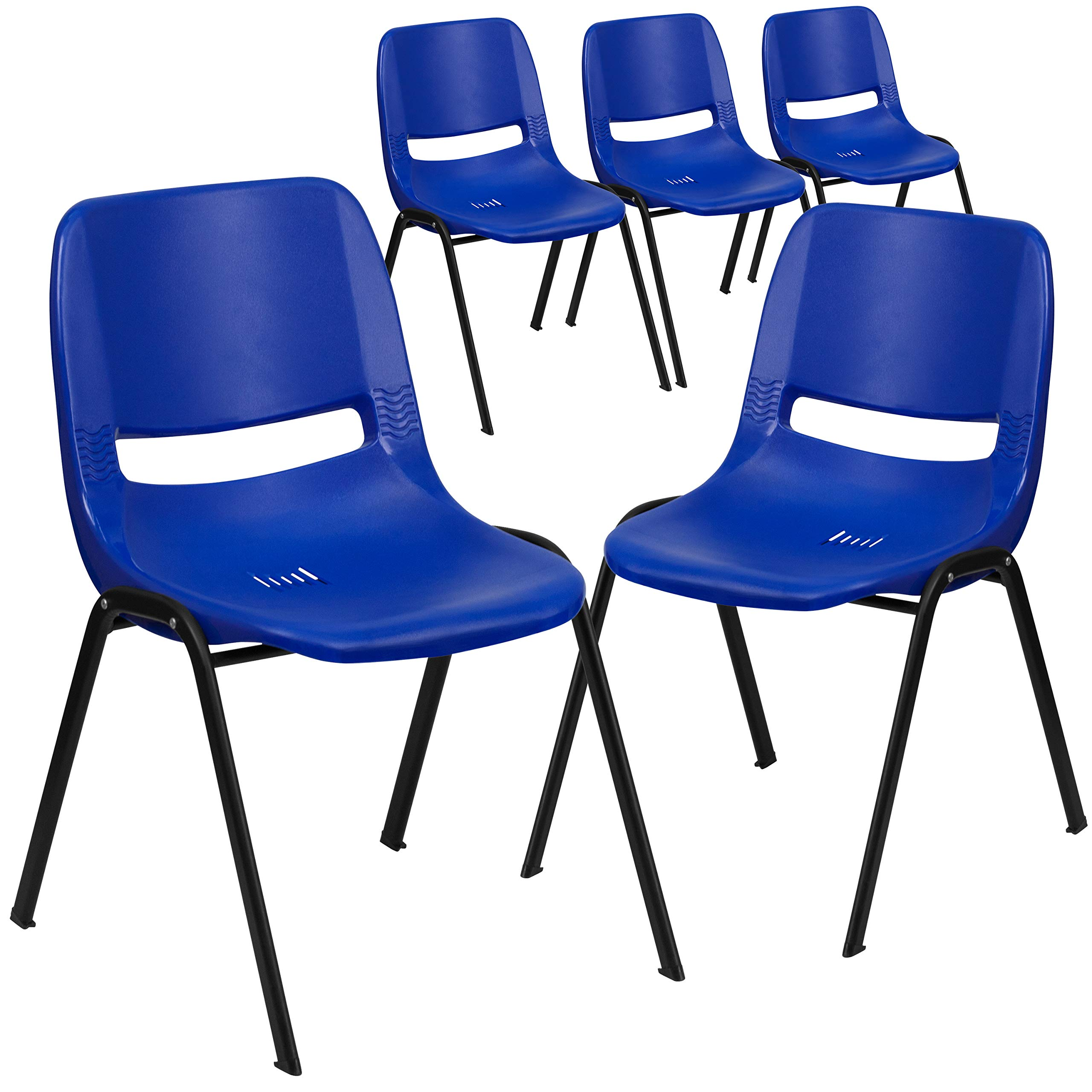 Flash Furniture 5 Pk. HERCULES Series 440 lb. Capacity Navy Ergonomic Shell Stack Chair with Black Frame and 14'' Seat Height