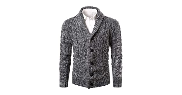 12005164b5 MIEDEON Mens Casual Stand Collar Cable Knitted Button Down Cardigan Sweater  (L
