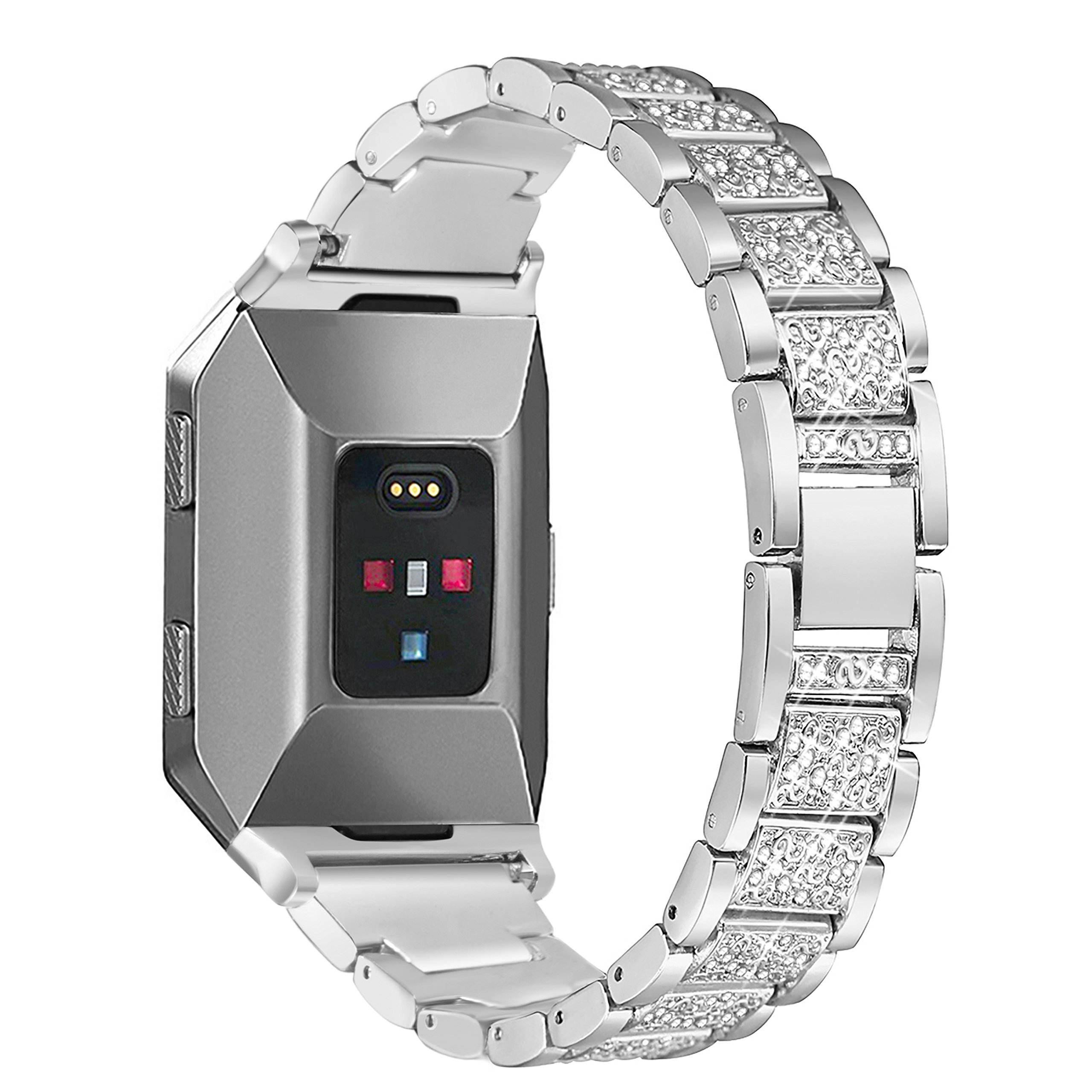 bayite For Fitbit Ionic Replacement Metal Bands, Bracelet Adjustable Bling Band Wristband with Rhinestone For Fitbit Ionic Smart Watch Silver