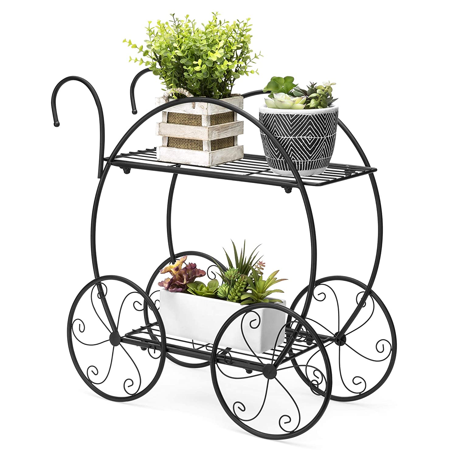 Best Choice Products Patio Planter 2 Tiered Garden Cart Metal Plant Stand Home Decor