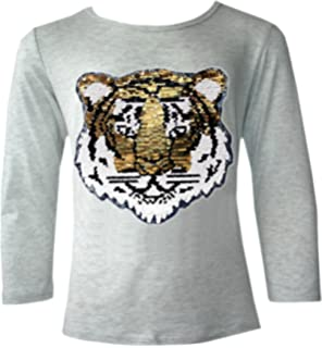 c721dceab9d64 Kids Emoji Emoticons Tiger Smiley FACE Tops TEE TOP Brush Changing Sequin  New Age 3-14…