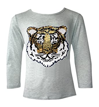 908160071bcad Kids Emoji Emoticons Tiger Smiley FACE Tops TEE TOP Brush Changing Sequin  New Age 3-14 Years  Amazon.co.uk  Clothing