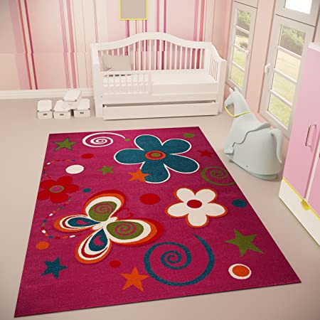 Vimoda Tapis Moderne Violet pour la Chambre Enfant avec Motif d\'étoiles,  Papillon et Fleur, Doux et Peak 160 x 230 cm
