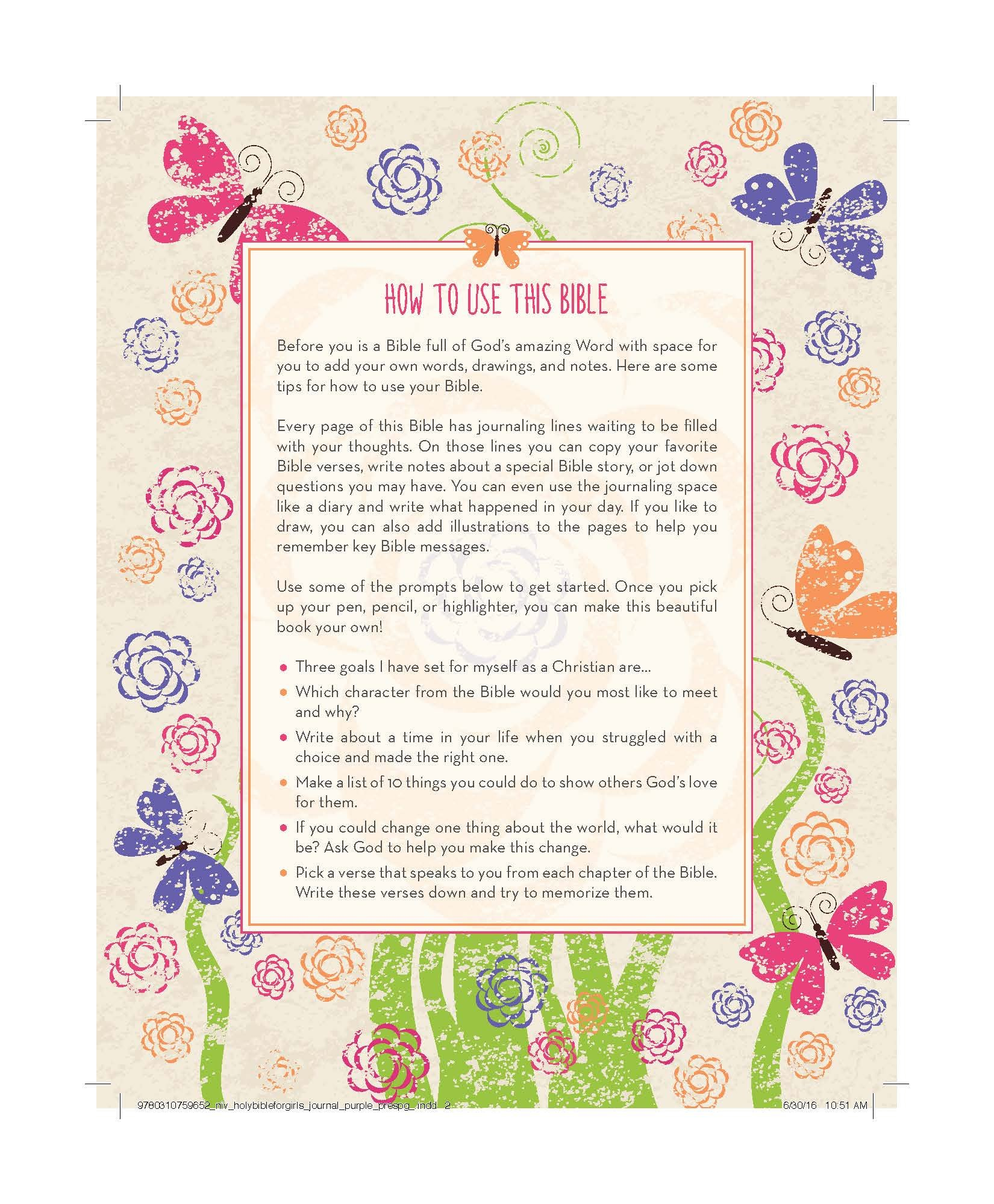 NIV, Holy Bible for Girls, Journal Edition, Hardcover, Purple, Elastic Closure