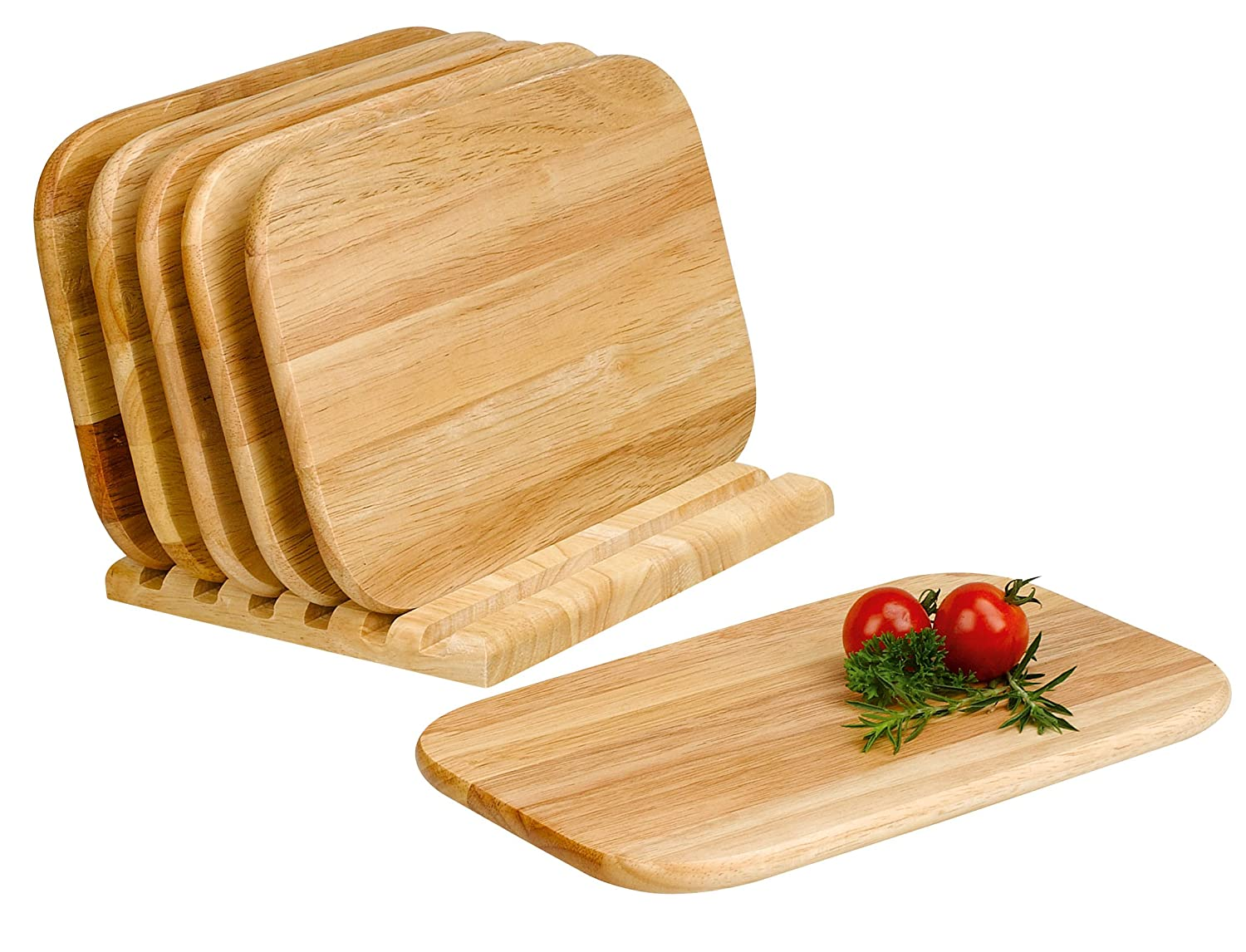 Domestic 906240 7 Piece Chopping Board Holder Set Light Shade with Wooden Handle