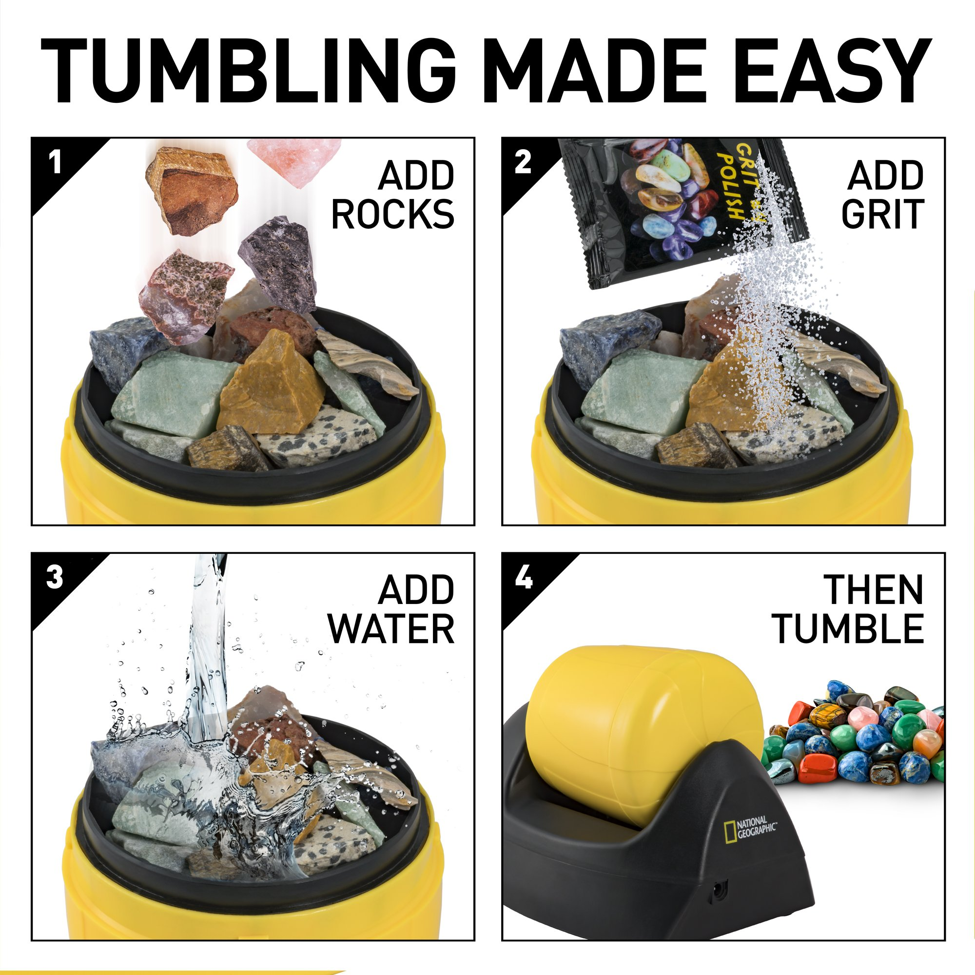 NATIONAL GEOGRAPHIC Starter Rock Tumbler Kit-Includes Rough Gemstones, 4 Polishing Grits, Jewelry Fastenings & Detailed Learning Guide - Great Stem Science Kit For Mineralogy & Geology Enthusiasts by NATIONAL GEOGRAPHIC (Image #3)