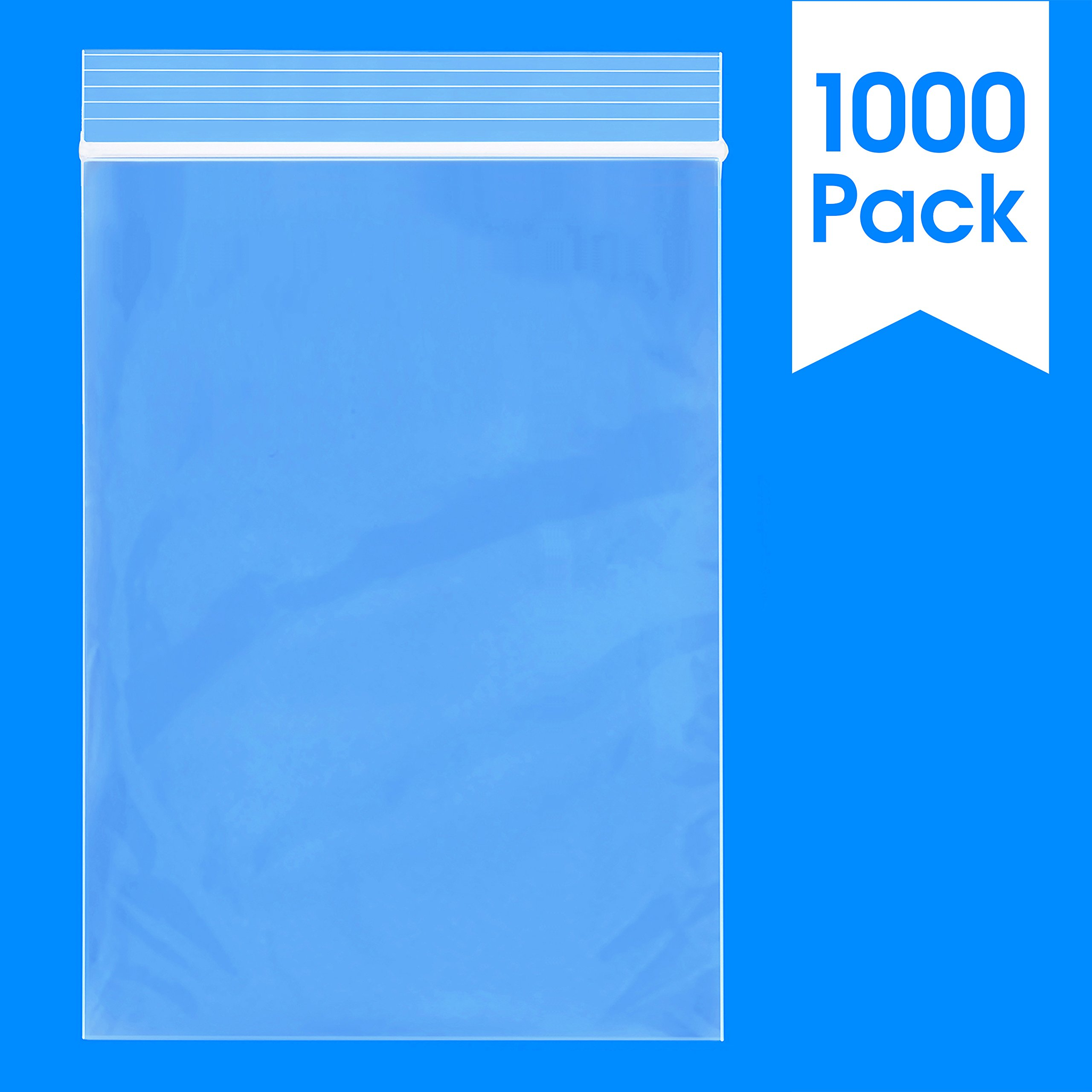 """1000 Count - 4"""" X 6"""", 2 Mil Reclosable Zip Plastic Bag, Clear (More Sizes Available)"""