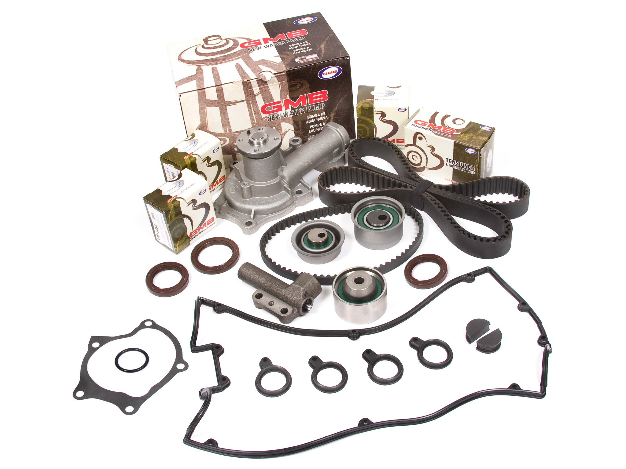 Evergreen TBK167HVC Compatible With 89-92 Mitsubishi Eagle 2.0L TURBO 4G63T Timing Belt Kit Valve Cover Gasket GMB Water Pump