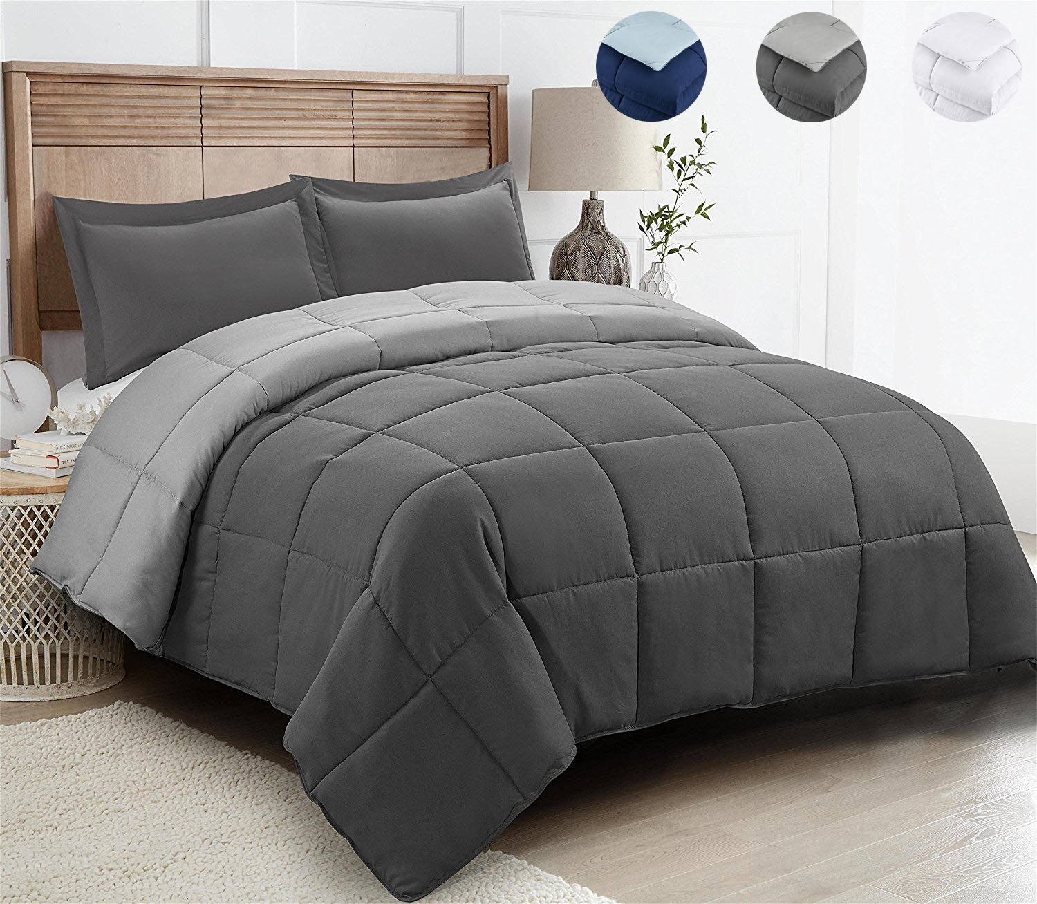 2 Piece All Season Down Alternative Comforter Set,Duvet Insert or Stand Alone with 1 Sham,Reversible Box Stitched Quilted Comforter with Corner Duvet Tabs,Soft Plush(Twin&Twin XL,Dark/Light Gray)
