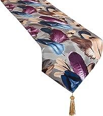 Camino de Mesa de Lino Violeta con diseño de Plumas de Chenilla, 33 x 177,8 cm, Color Morado
