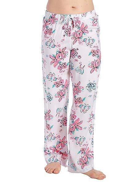 Noble Mount Pantalon Pijama de Viscosa para Mujer Joven - Aves - Blanco - XL