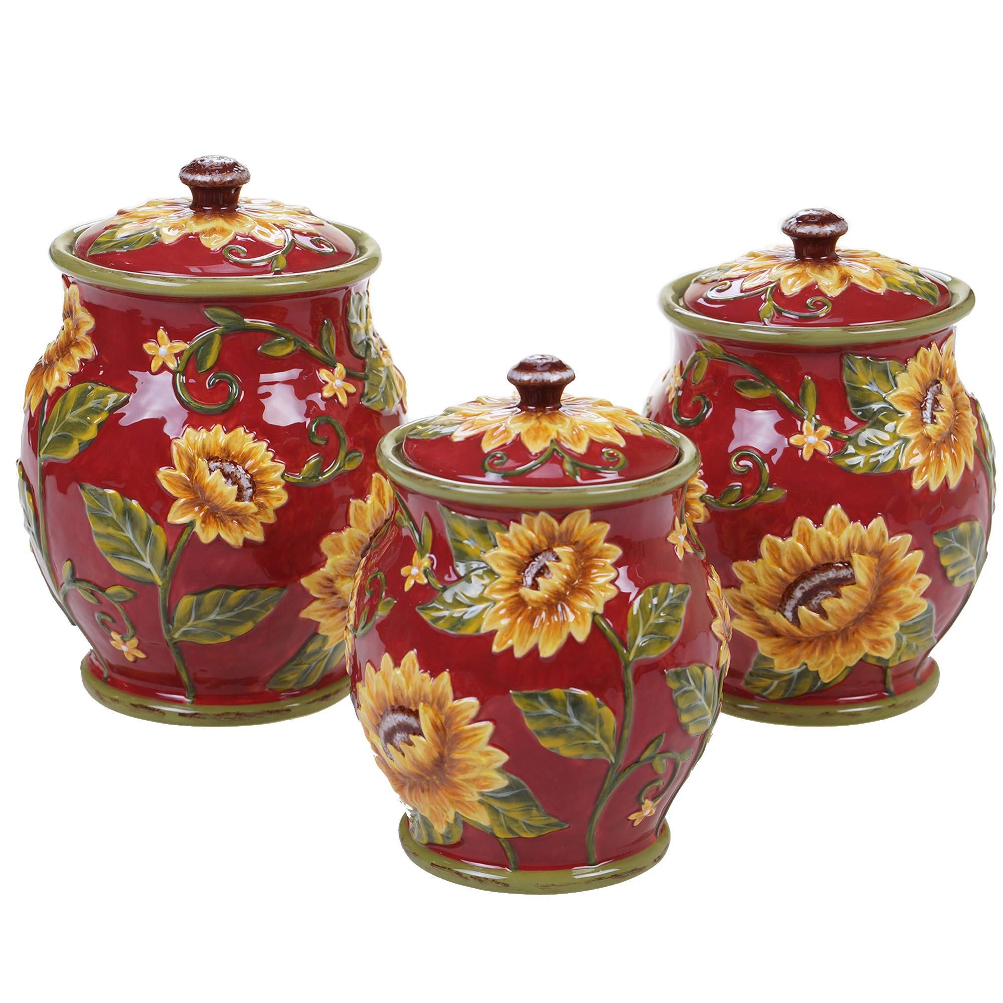 Certified International Sunset Sunflower 3 pc. Canister Set ,One Size, Multicolored