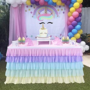 Unicorn Tablecloth Rainbow Tutu Table Skirt for Baby Shower Birthday Unicorn Party Home Decor Table Skirting 14ft
