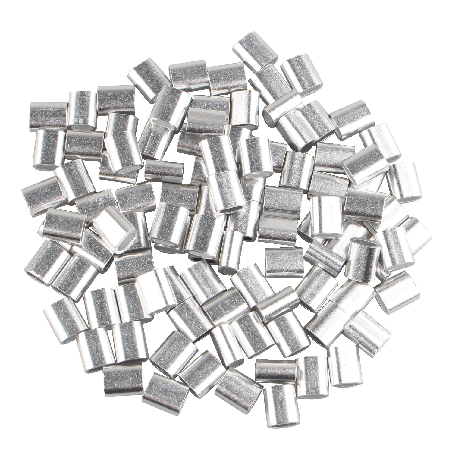 100 pcs Aluminum Crimping Loop Sleeve Clips Oval Shaped for 2.5mm Cable Wire Rope Silver Tone FUSD