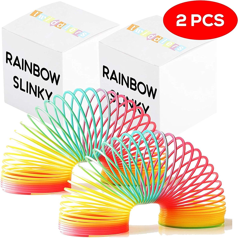 THE TWIDDLERS 2 Grandes muelles Gigantes (Slinky) de Brillante Colorido en los Colores Vibrantes del Arco Iris - Populares como Regalos de cumpleaños y recompensas / premios de Clase