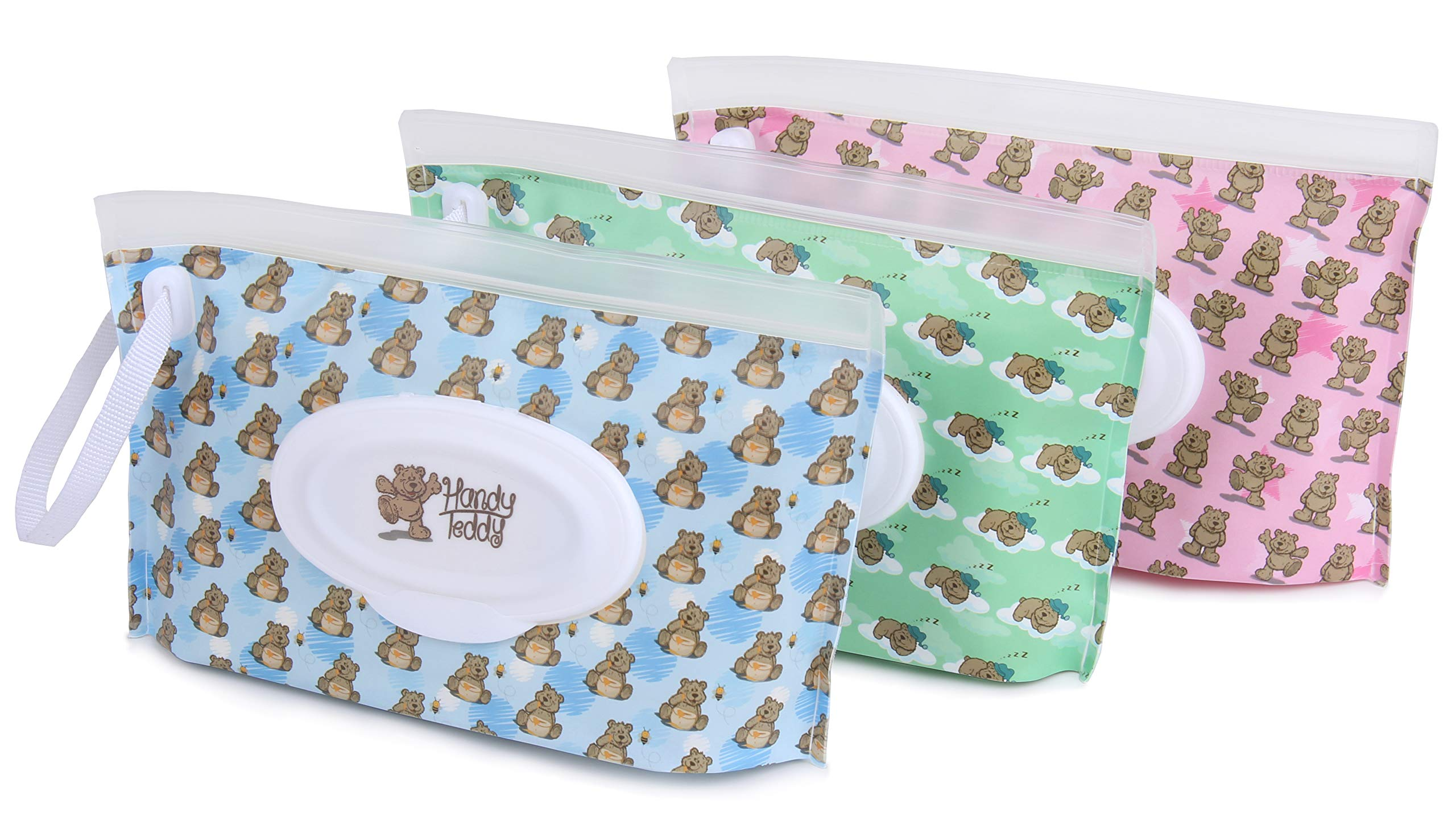 Handy Teddy Wet Wipe Pouch [Set of 3] Reusable Refillable Clutch Dispenser Holder Case for Baby or Personal Use – BPA-Free Sanitary – Pouch Carries 30 Wipes Min – Convenient and Great for Travel!