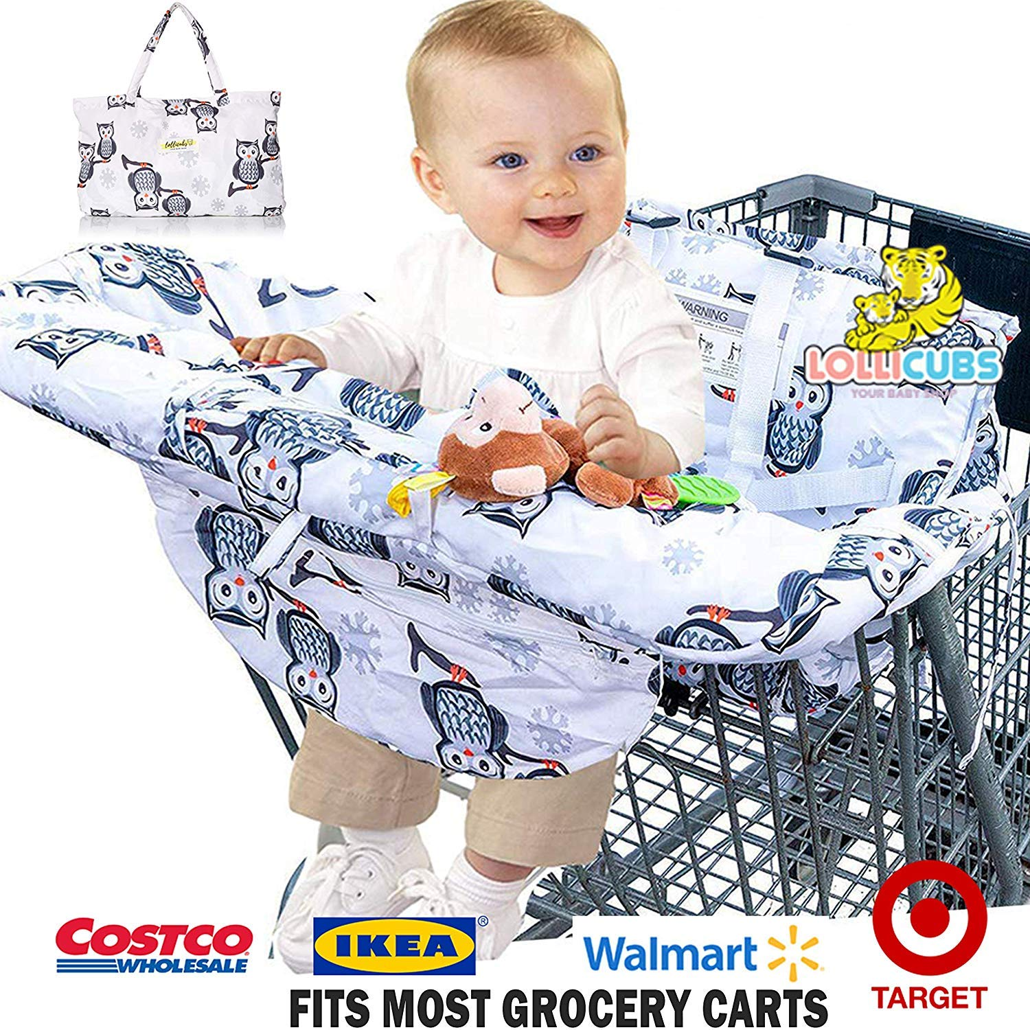2 in 1 Deluxe Size Shopping Cart Cover and High Chair Cover | Premium-Quality Cushioned Seats with Pockets for Highchairs and Grocery Carts