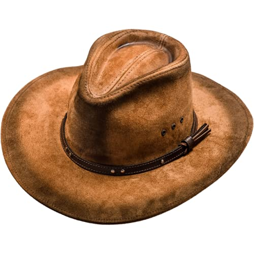 49ce7e0f83ae8 Our second leather hat is another Australian style cowboy hat dubbed the  Classic Western Cowboy Outback Hat. Sterowski pulled out all the stops for  this one ...