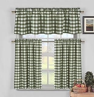 Duck River Textiles KINGSTON 3153Du003d12 3 Piece Checks Kitchen Curtain Set,  Sage
