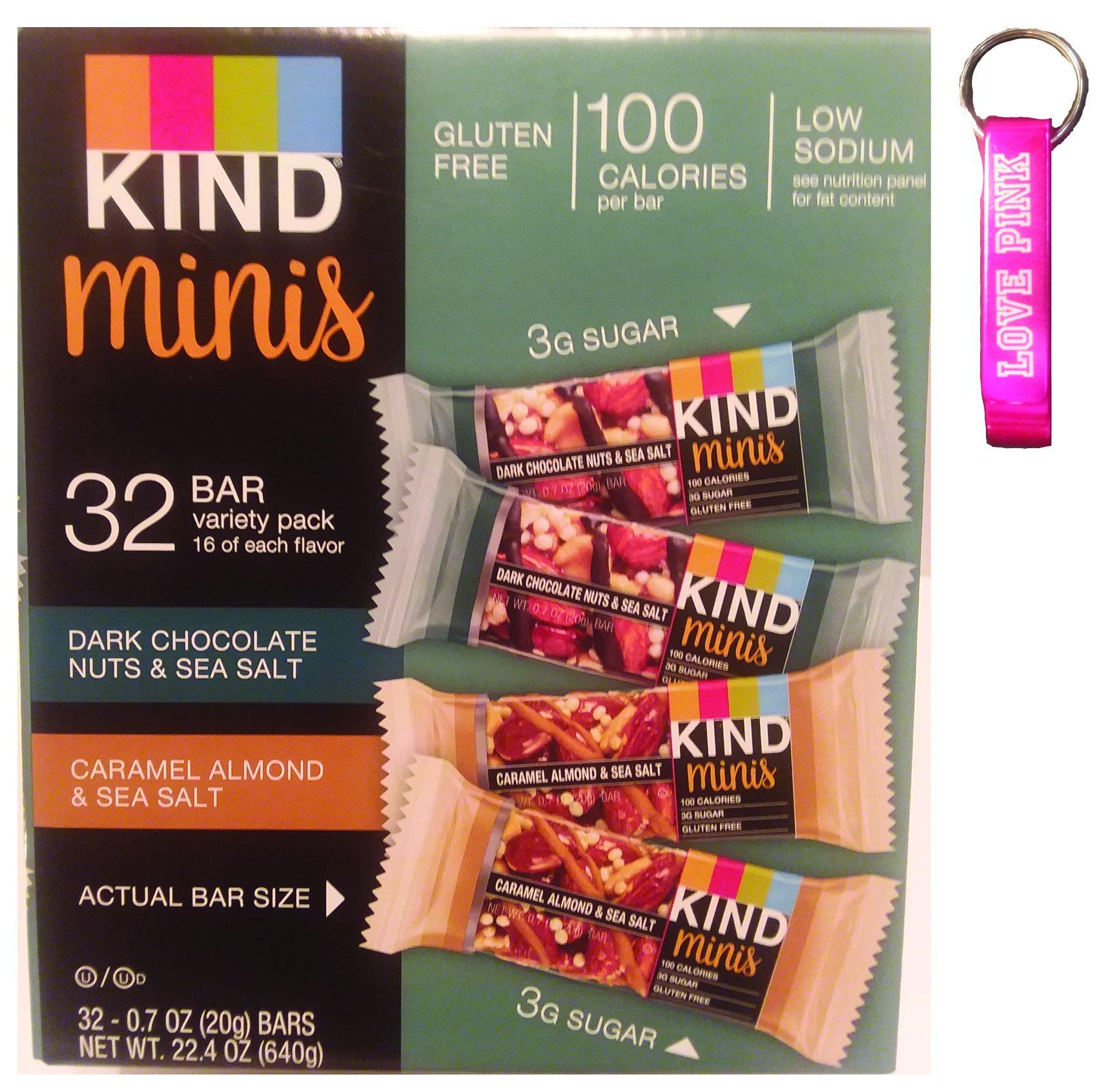 Kind mini's 32 bar variety pack. Dark Chocolate Nuts & Sea Salt, Caramel Almond & Sea Salt. 16 of each flavor, 0.7 oz bars & Pink Bottle Opener