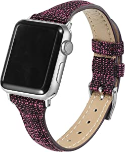 Secbolt Slim Woven Bands Compatible with Apple Watch Band 38mm 40mm, Classy Canvas Strap with Soft Leather Lining for iWatch SE Series 6/5/4/3/2/1, Pink Blast