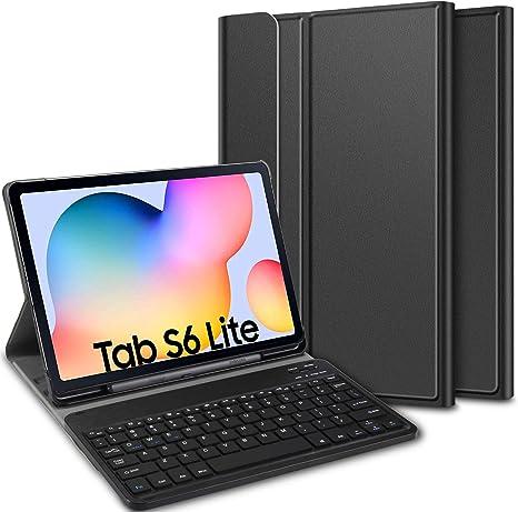 ELTD Funda Teclado Español Ñ para Samsung Galaxy Tab S6 Lite 10.4, Protectora Cover Funda con Desmontable Wireless Teclado, (Negro)