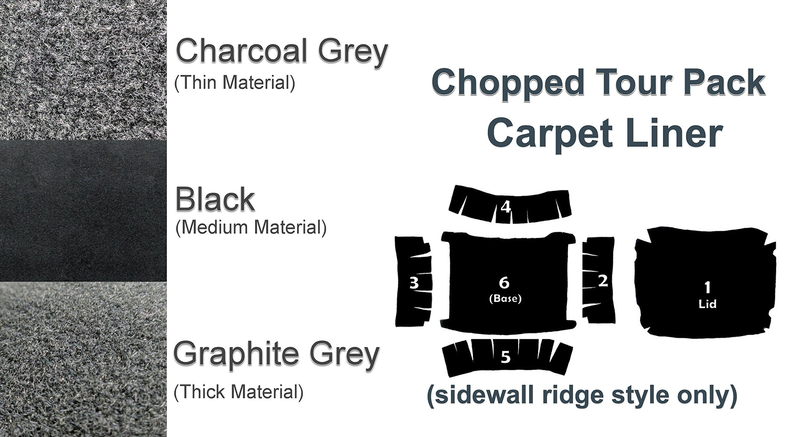 Chopped Tour Pak Pack Carpet Liner for 1994-2013 Harley-Davidson Chopped Tour pack w/ Sidewall Ridges (Charcoal)