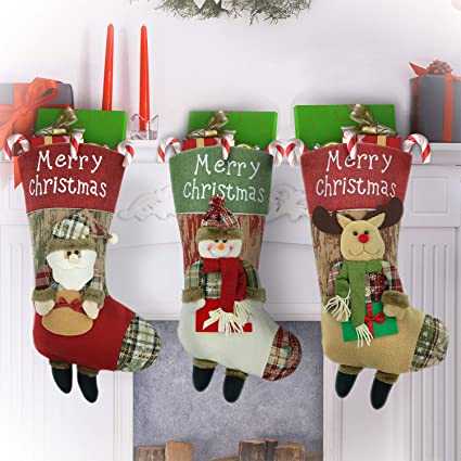 bd2fcab127a SUNKY Lovely Christmas Stockings Set 19 quot  Xmas Character 3D Plush Linen  Hanging Tag of Santa