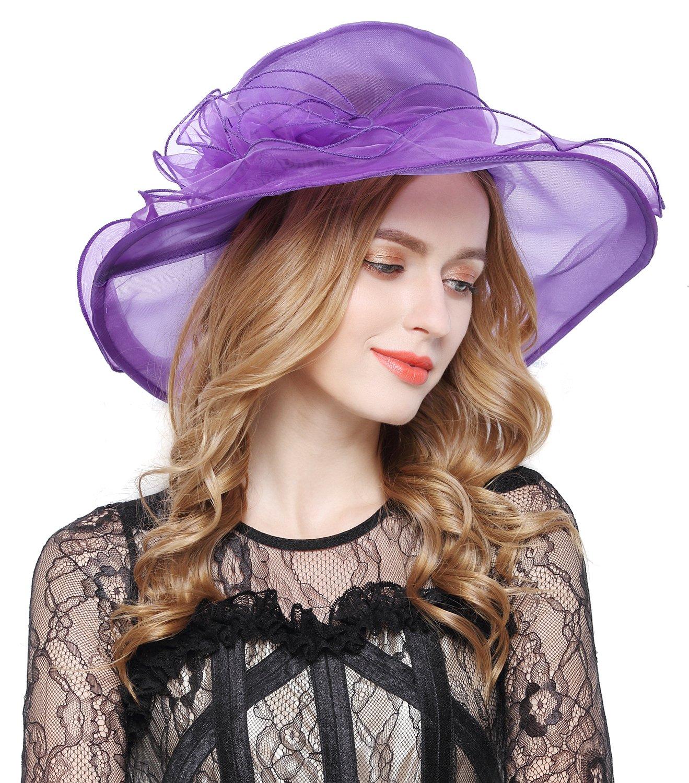 Lovful Ladies Wide Brim Solid Color Church Derby Church Cap Bridal Wedding Elegant Hat, Purple