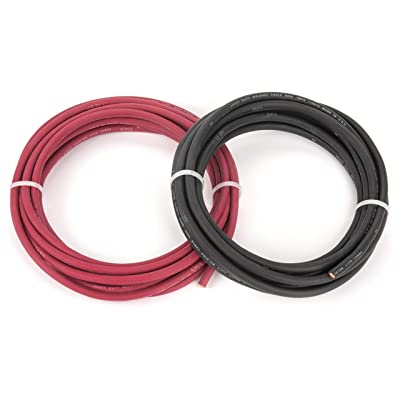 EWCS 6 Gauge Premium Extra Flexible Welding Cable 600 Volt Combo Pack - 20 Feet Each Black+Red - Made in the USA