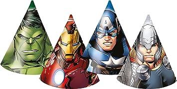Unique Party Marvel Los Vengadores niños superhéroes Fiesta de cumpleaños Sombrero Deko