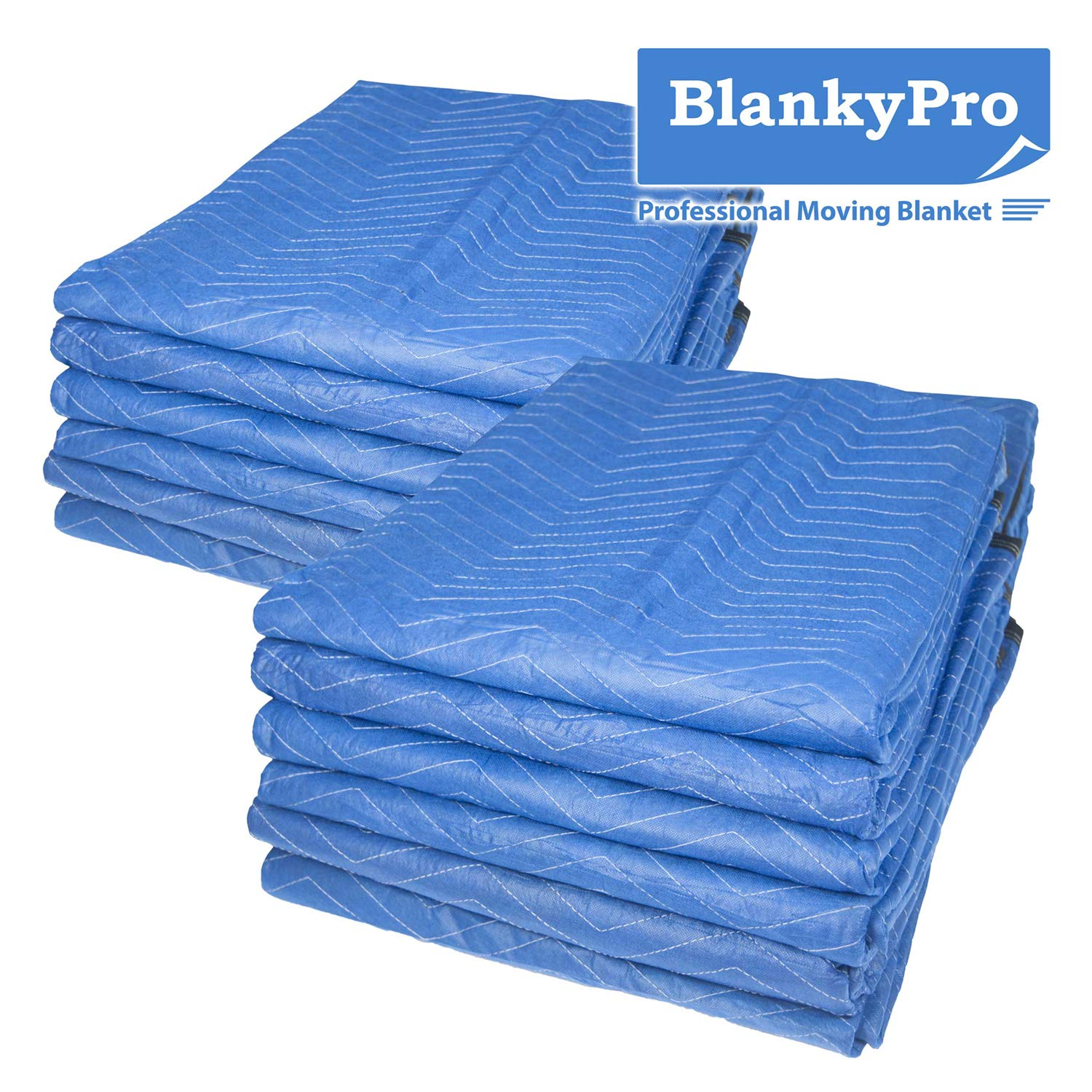 12-Pack Moving Blankets, BlankyPro 80'' x 72'' Non-Woven Heavy Duty Shipping Furniture Pad, Blueblack, Regular Thickness (35LB/dz Weight), Perfect for Moving Occasion