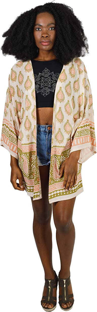 Paisley Raindrops Crepe Kimono-Cream at Amazon Women's Clothing store